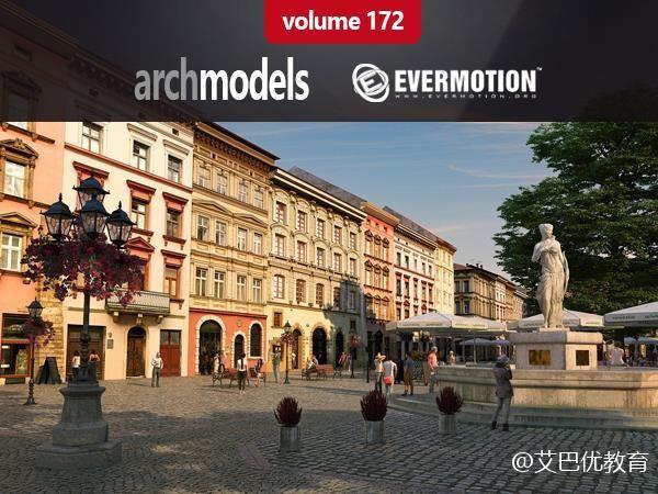 95个欧式建筑楼房3D模型下载 Evermotion Archmodels vol. 172