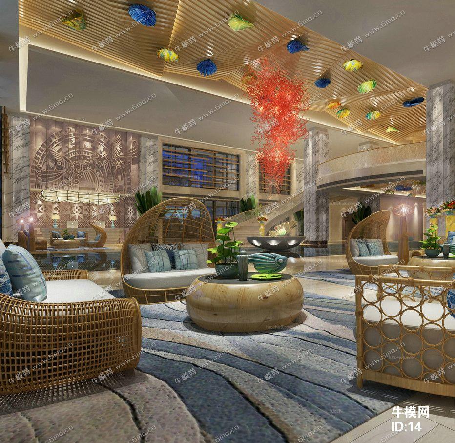 新中式酒店大厅休闲区