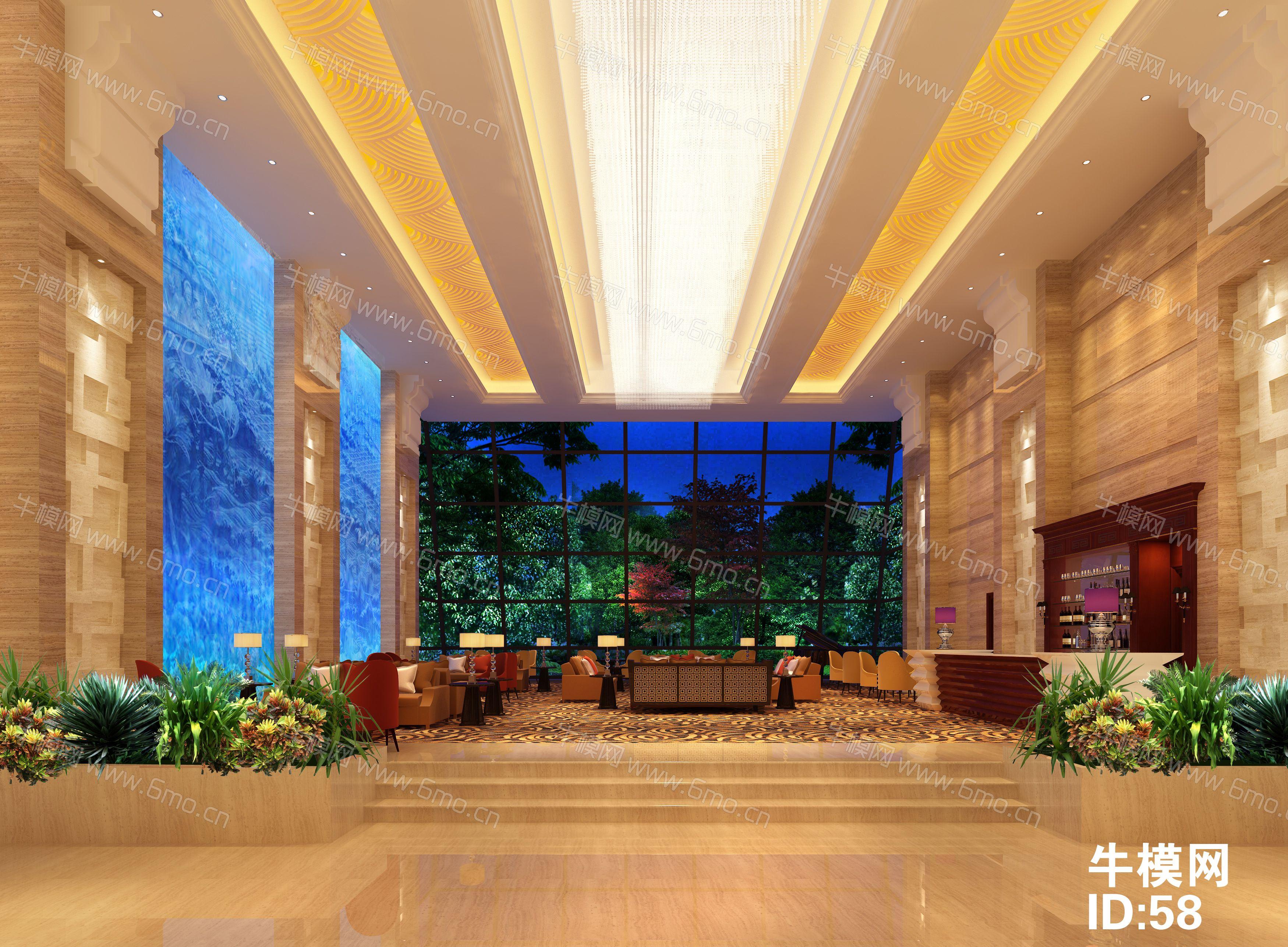 度假酒店大厅休息区下载