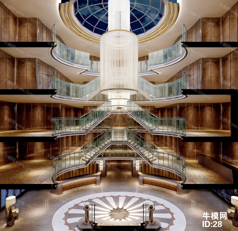 酒店大厅/楼梯/前台/天花下载/效果图