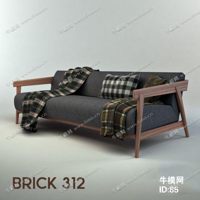 现代实木布艺双人沙发