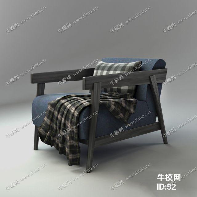 北欧风格布艺实木单人沙发