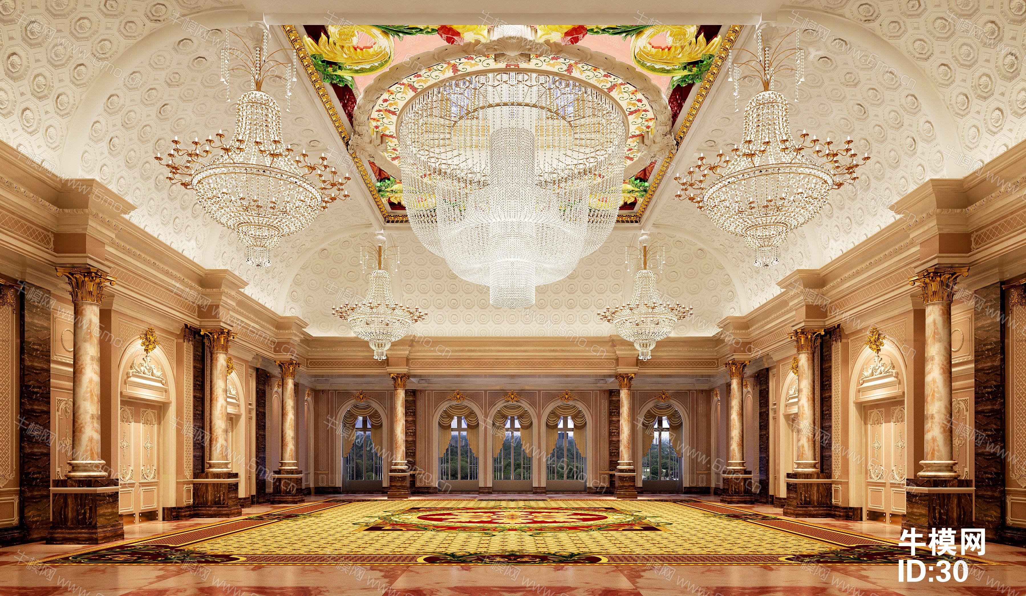 欧式古典酒店大堂下载/效果图