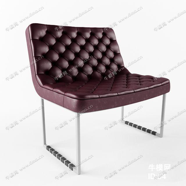 现代软包皮革单人沙发