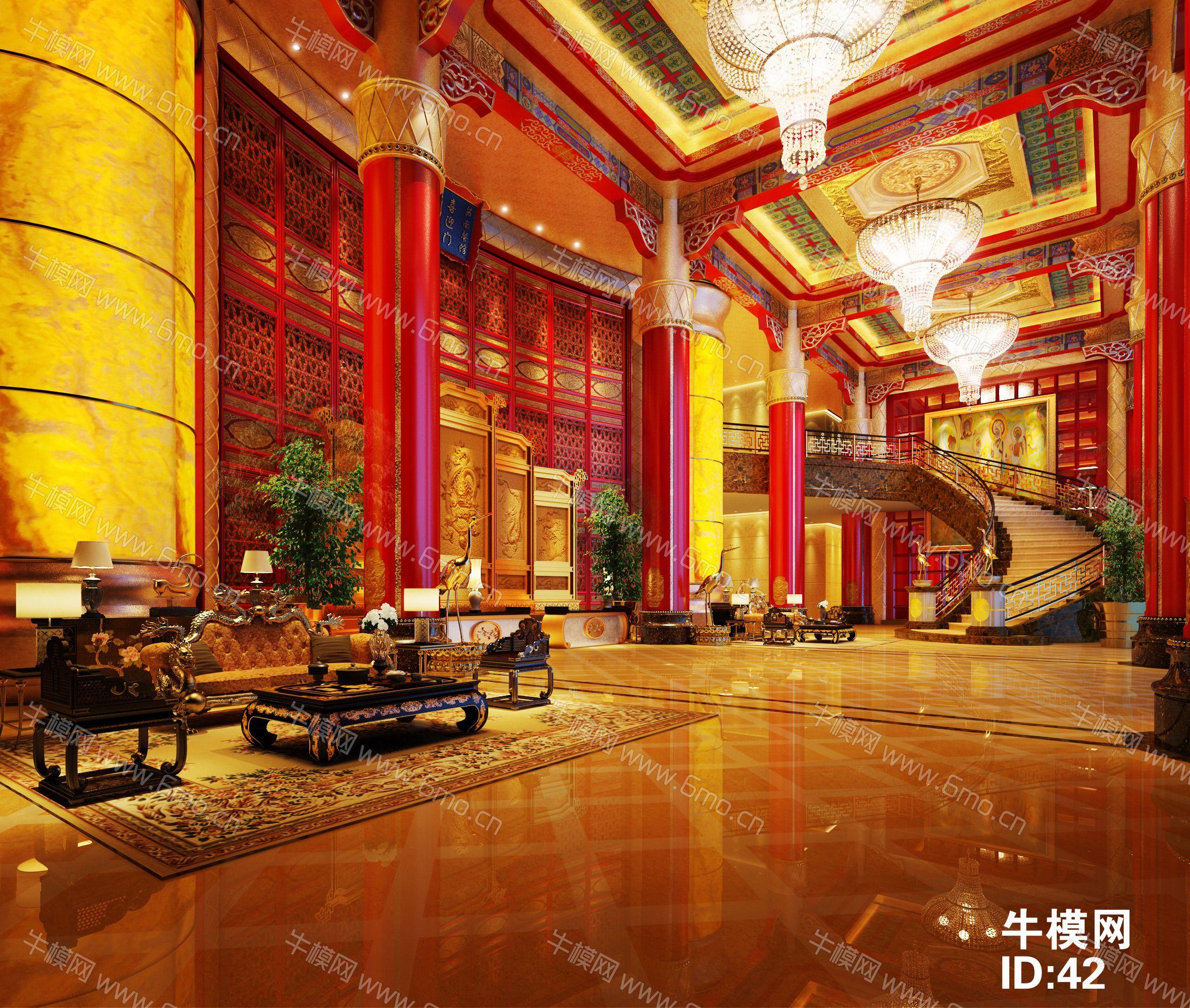 古典中式酒店大堂前台休息区下载