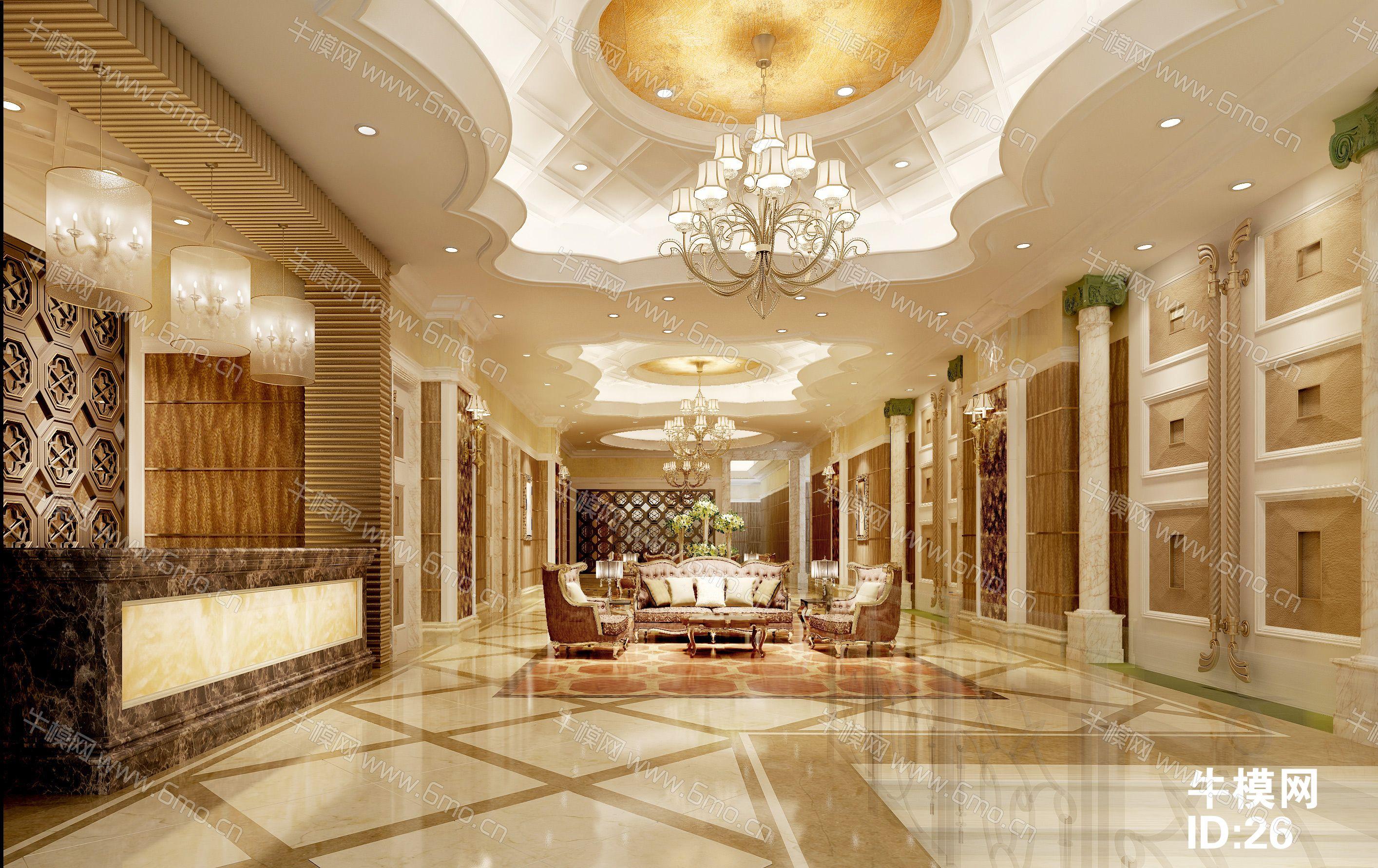宾馆大厅前台+休息区+效果图
