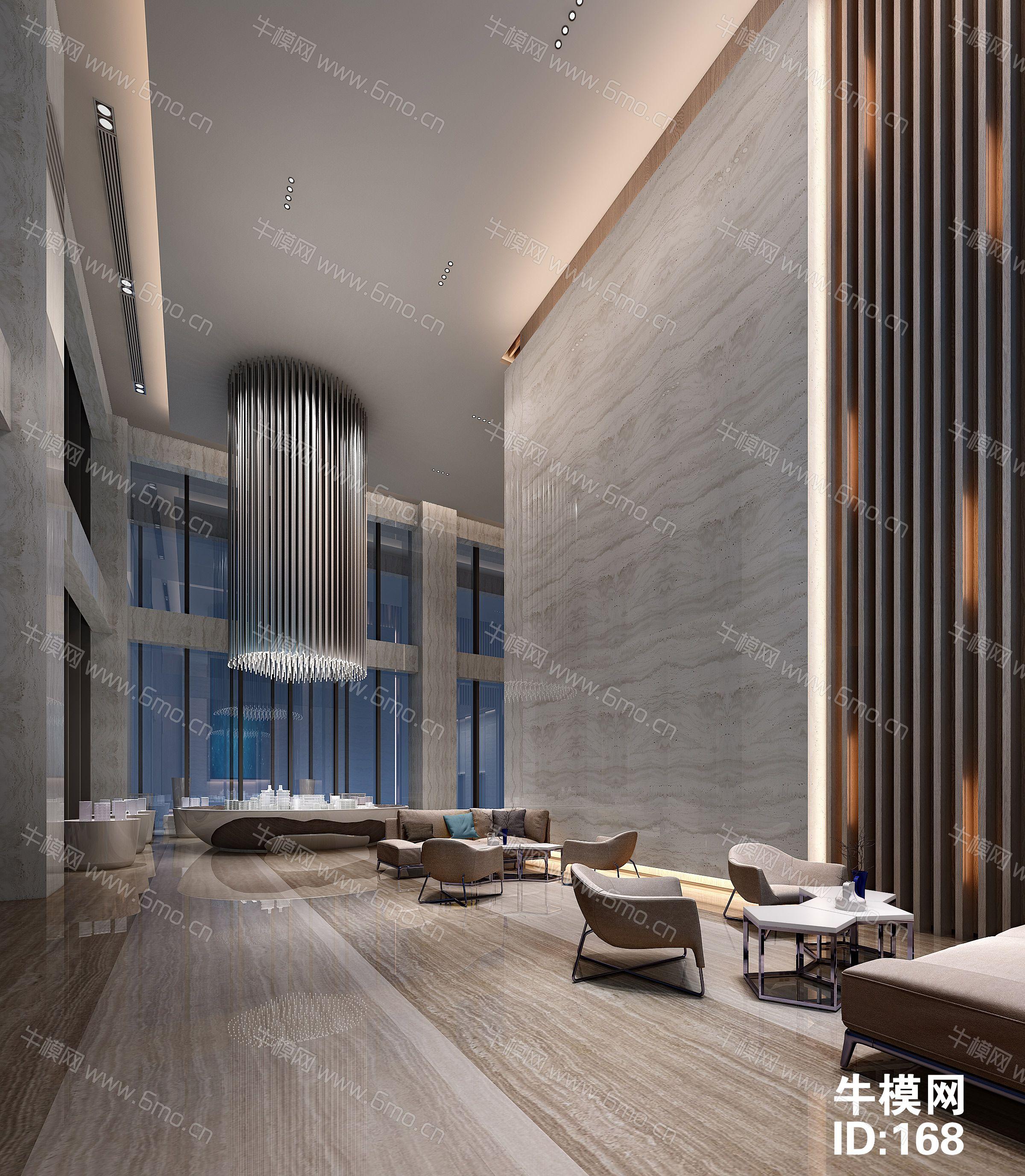 现代售楼处大厅沙盘前台洽谈区整套