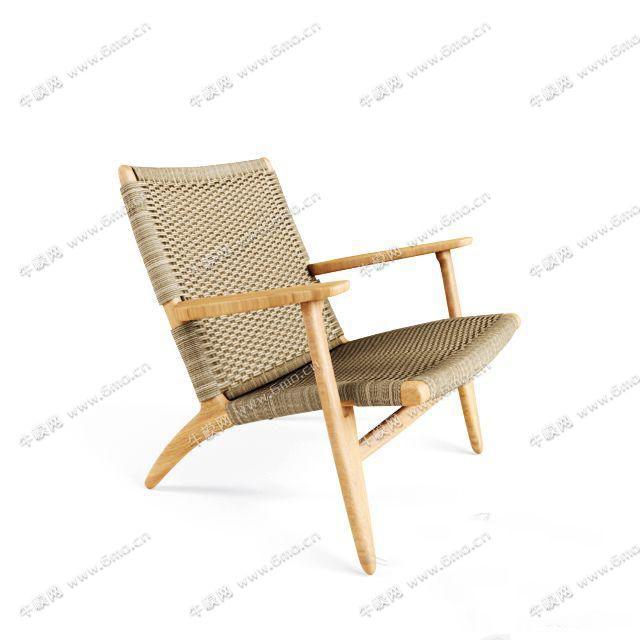 中式藤制单人椅子