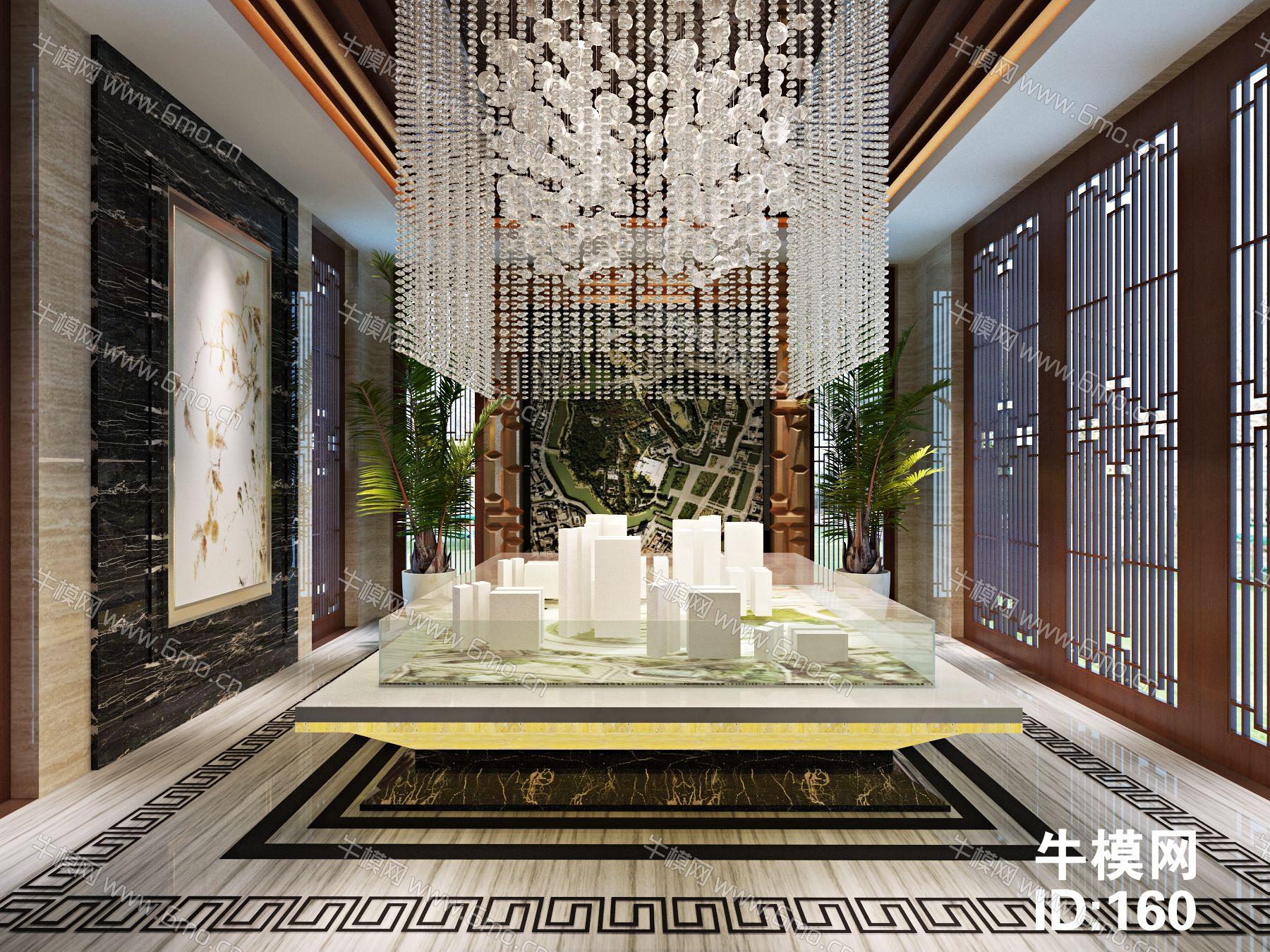 新中式售楼处沙盘大厅