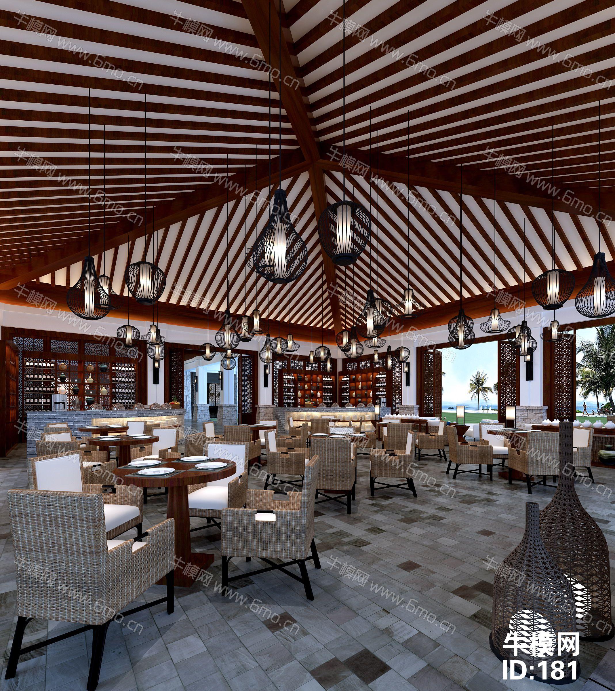 中式售楼处大厅吧台洽谈区