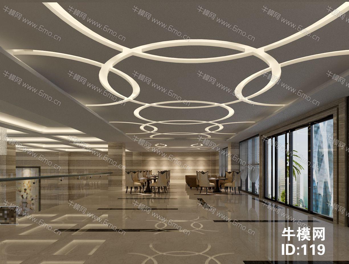 现代简欧售楼中心含前台/沙盘/接待洽谈区