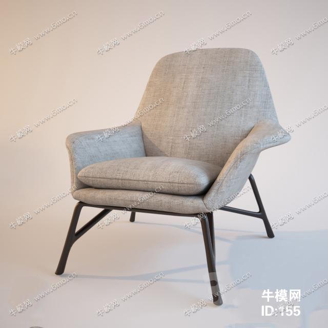 现代布艺单椅子