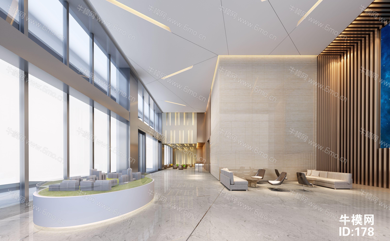 房地产售楼中心大厅前台沙盘洽谈区