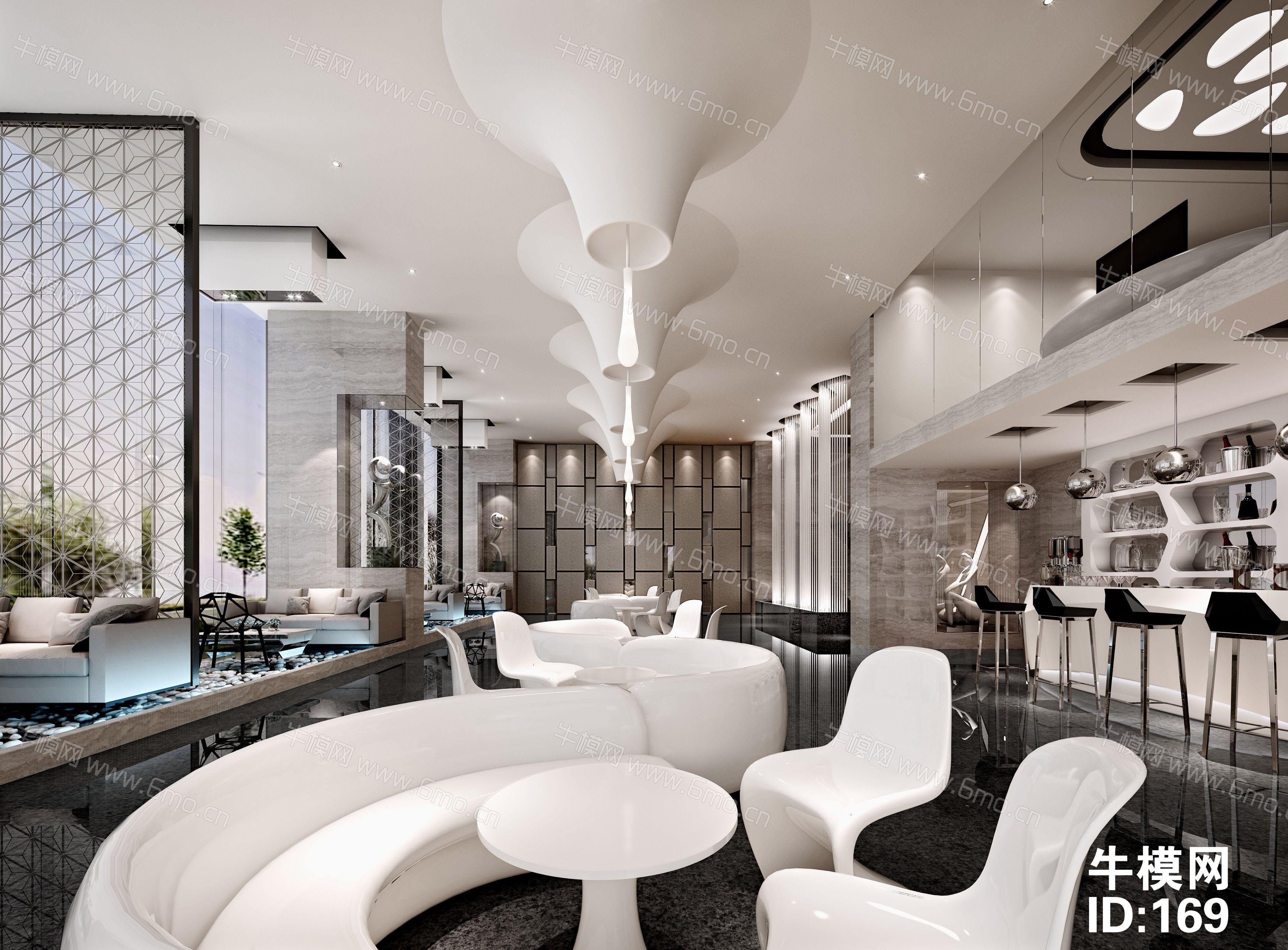 现代时尚售楼处大厅前台沙盘洽谈区