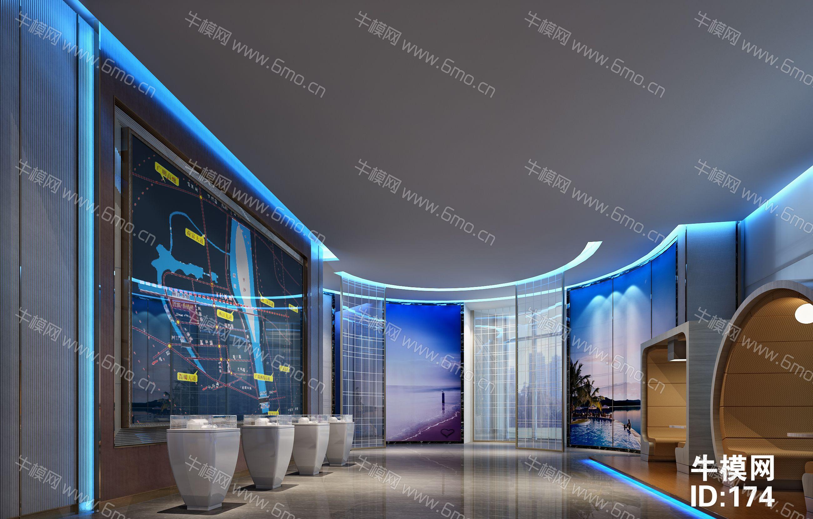 现代优雅售楼处大厅沙盘洽谈区