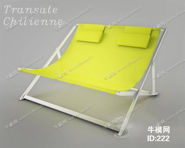 现代黄色布艺休闲椅