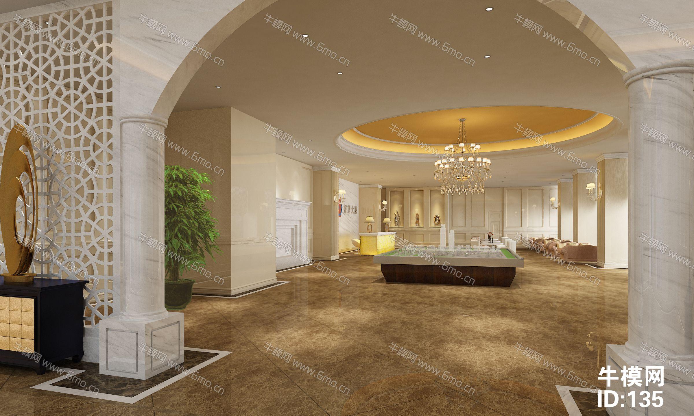 现代售楼处大厅沙盘