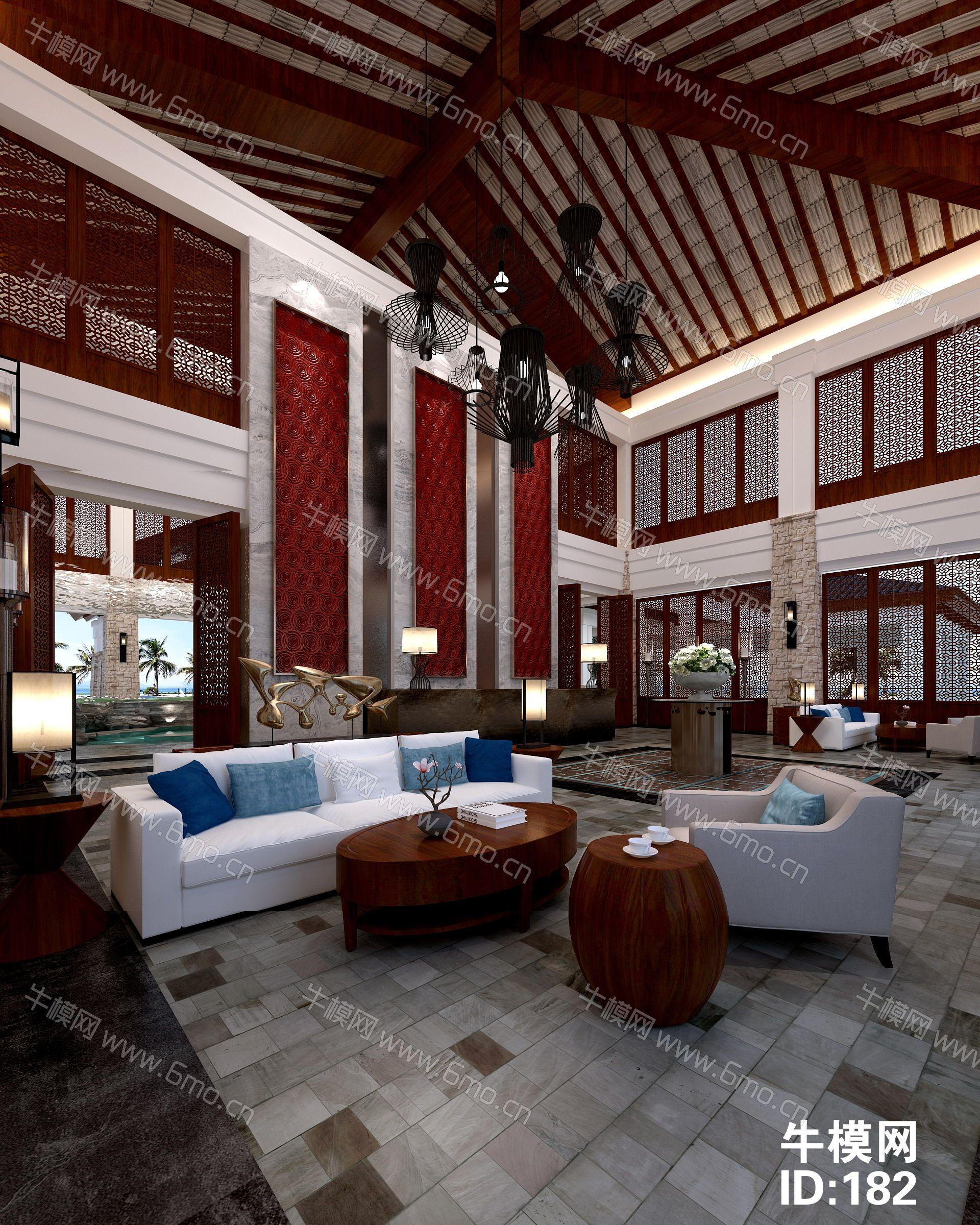 中式售楼处大厅前台沙盘洽谈区