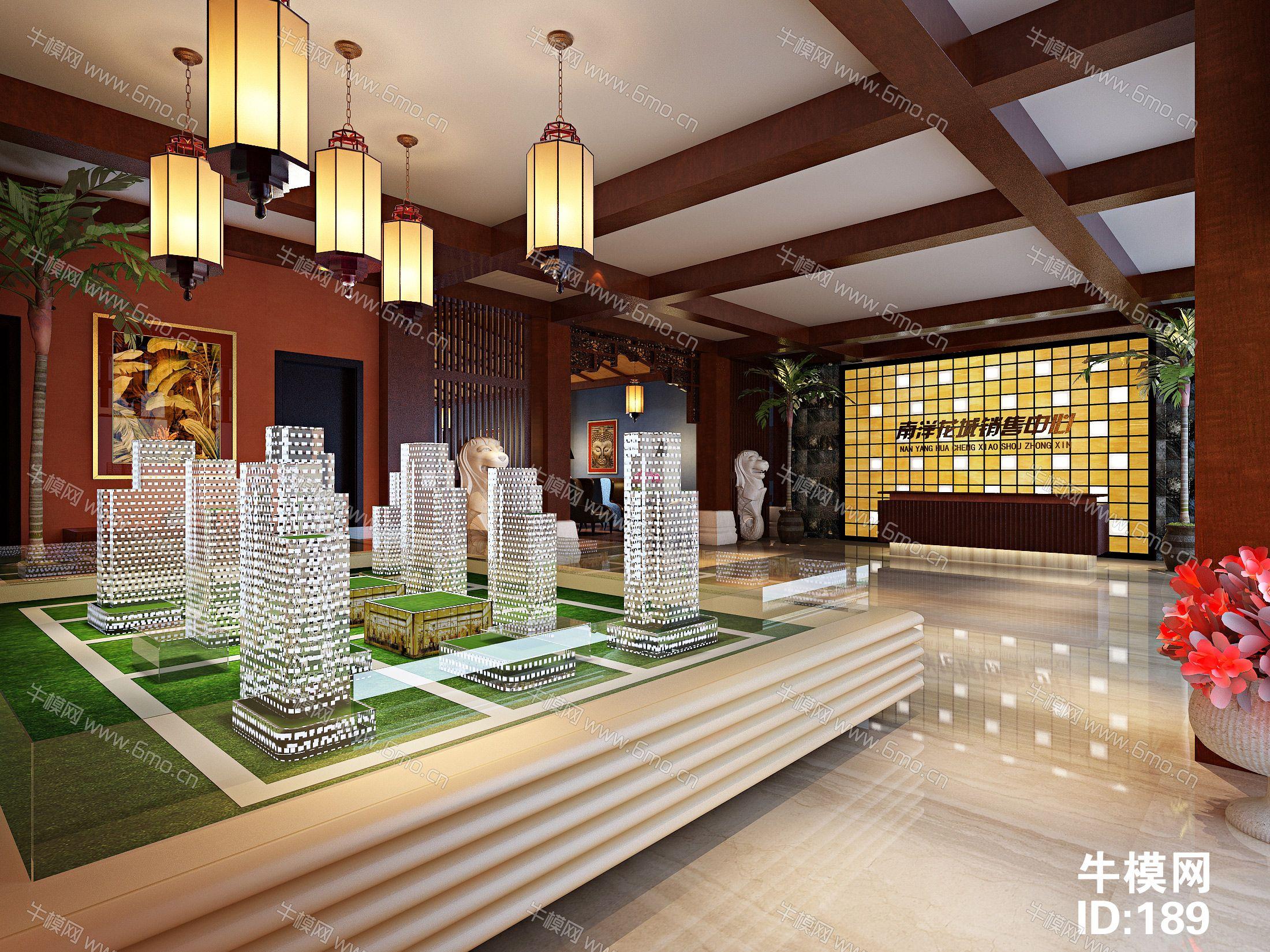 房地产销售中心大厅前台沙盘洽谈区