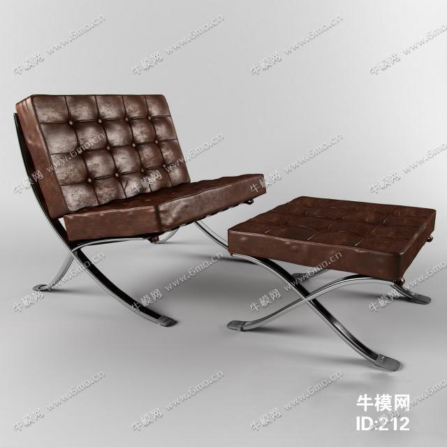 欧式皮革单人沙发