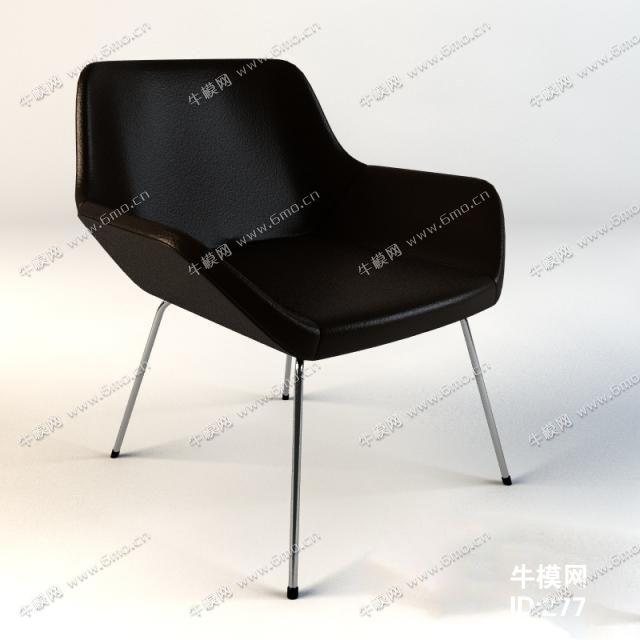 现代黑色皮革单人椅子