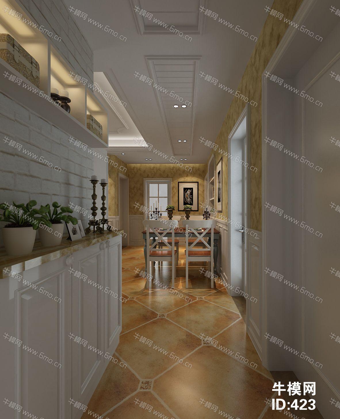 田园地中海风格客厅餐厅