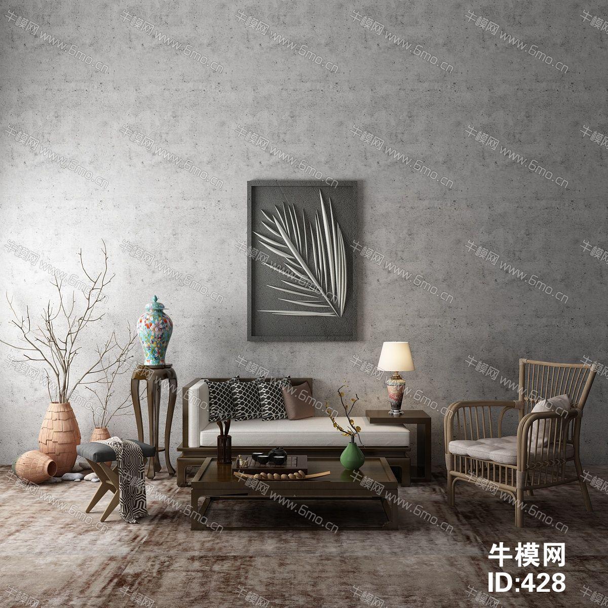 新中式单椅边柜组合