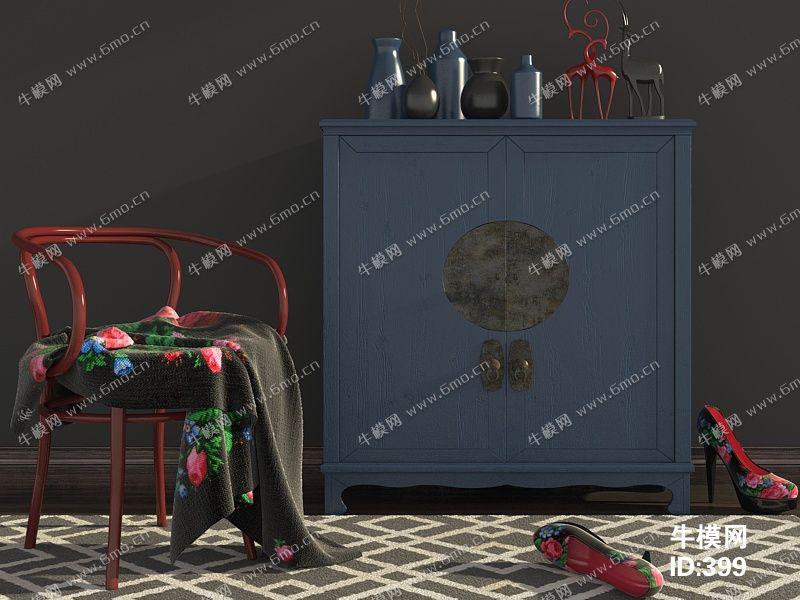 中式风格单人椅边柜组合