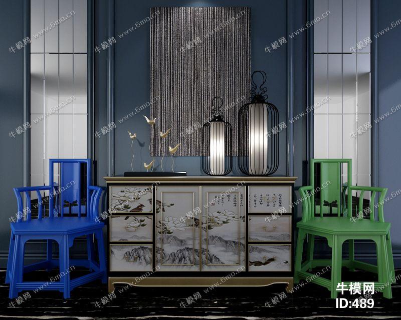 新中式风格单人椅边柜组合