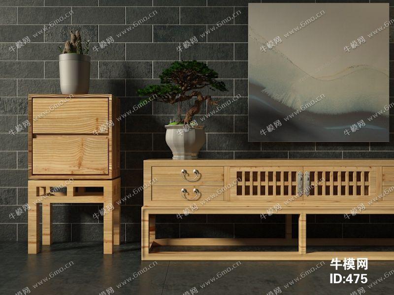 中式边柜电视柜盆栽组合