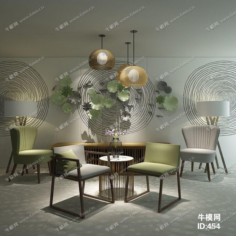 新中式单椅端景组合