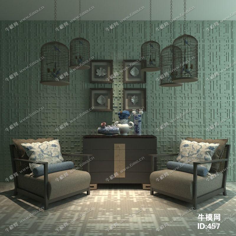新中式沙发边柜陈设品组合