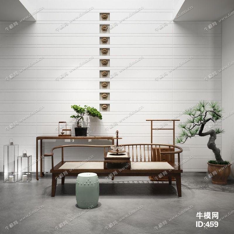 中式罗汉床端景台陈设品组合