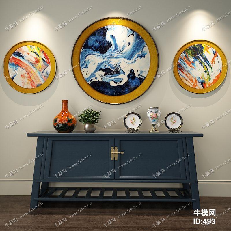 新中式风格边柜摆设品组合
