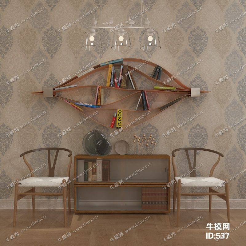 现代单椅边柜书柜组合
