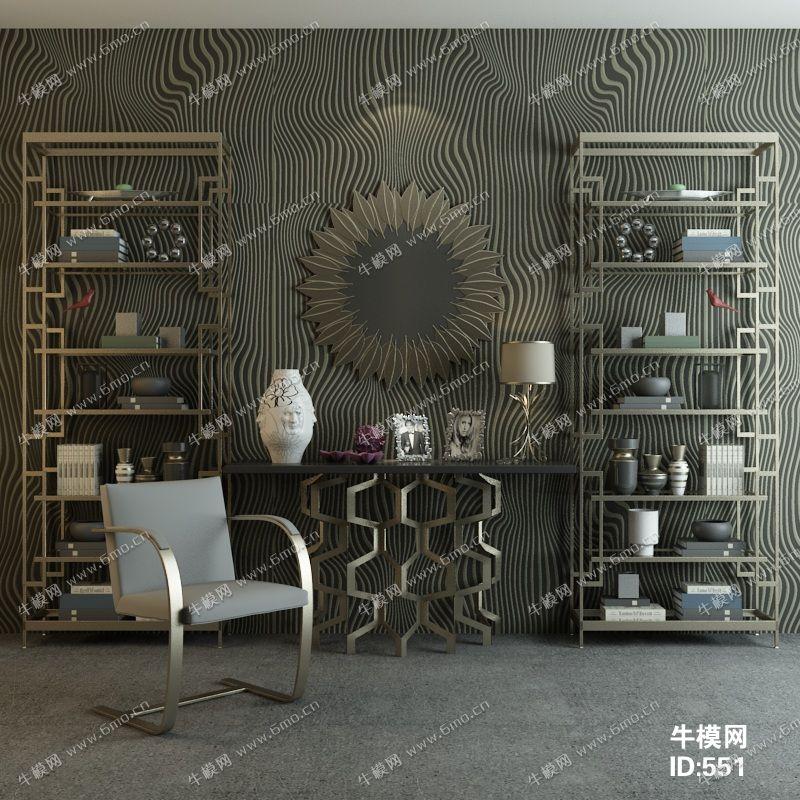后现代简约单椅置物架装饰台陈设品组合