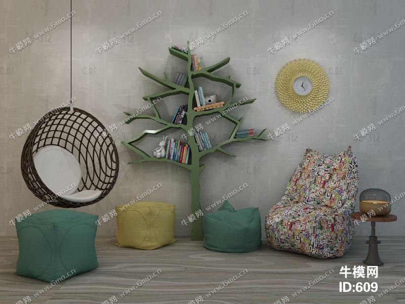 现代简约休闲椅摆设品组合