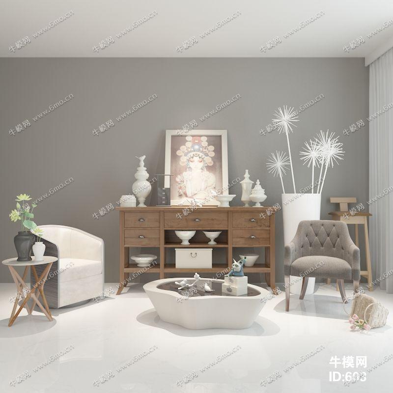 现代简约风格边柜沙发茶几组合