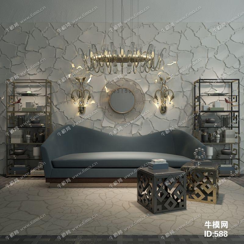 后现代简约沙发置物柜架组合