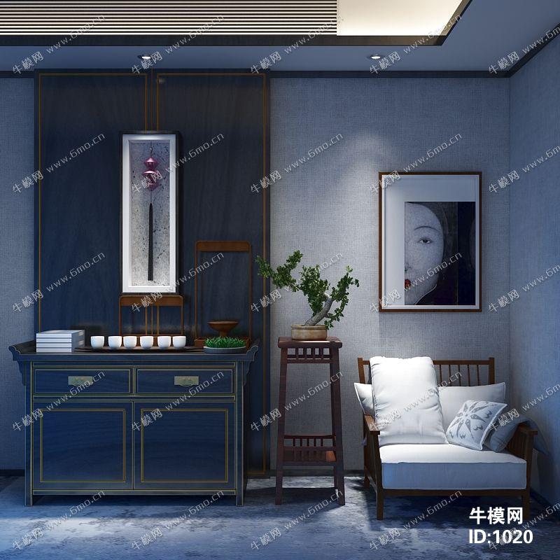 中式单椅边柜组合