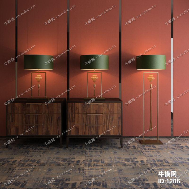新中式边柜台灯落地灯组合