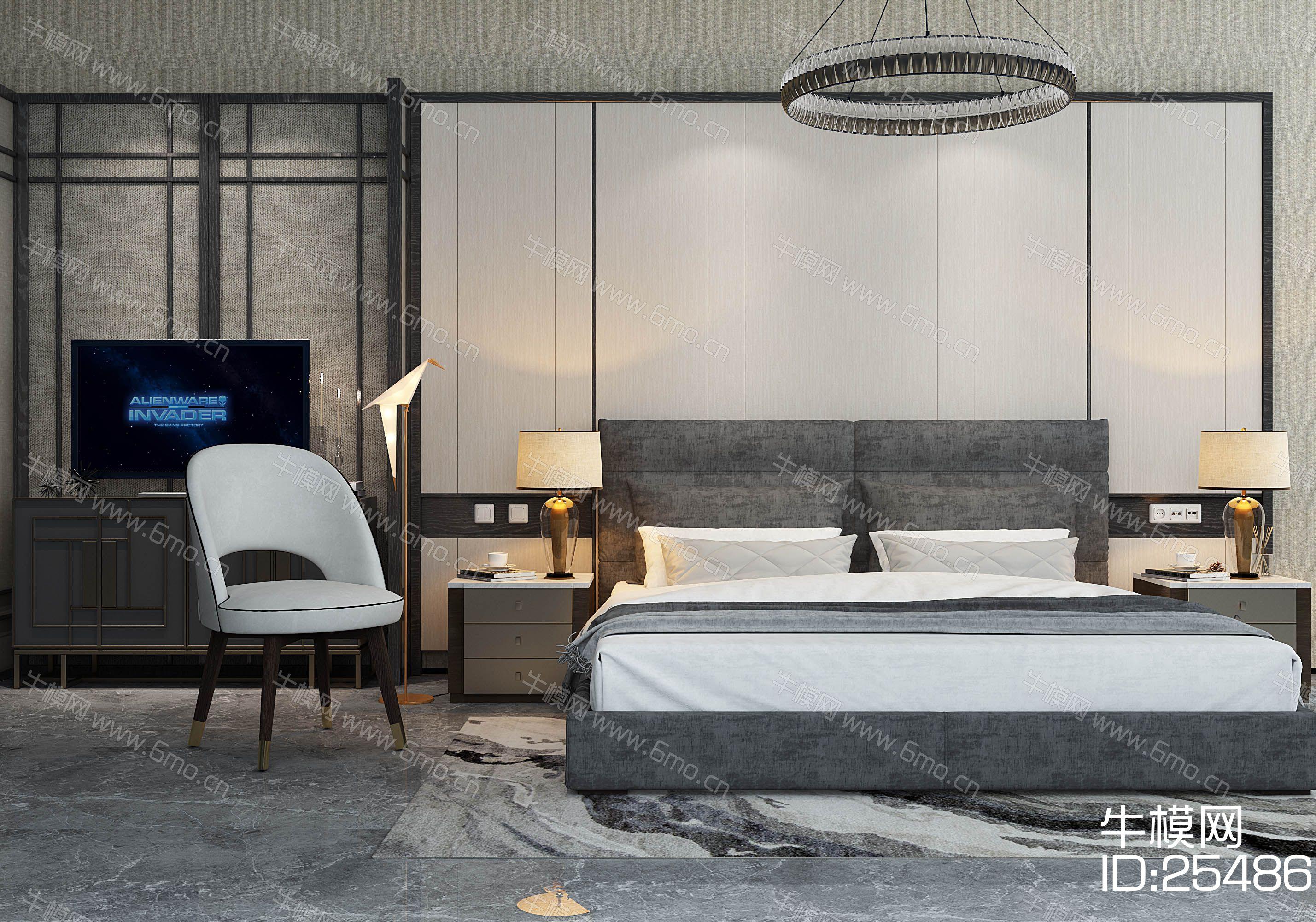 新中式双人床边柜休闲椅吊灯组合