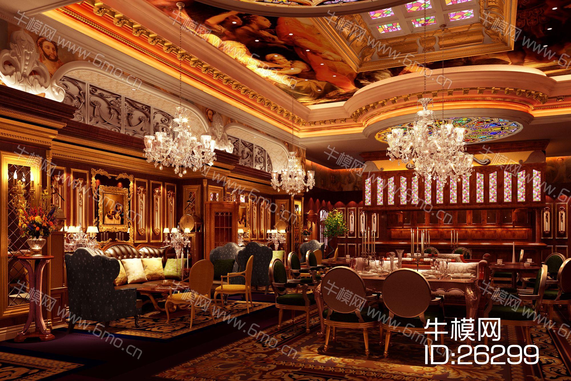 3d透明玻璃材质_欧式风格咖啡厅3D模型下载_id:26299_牛模网