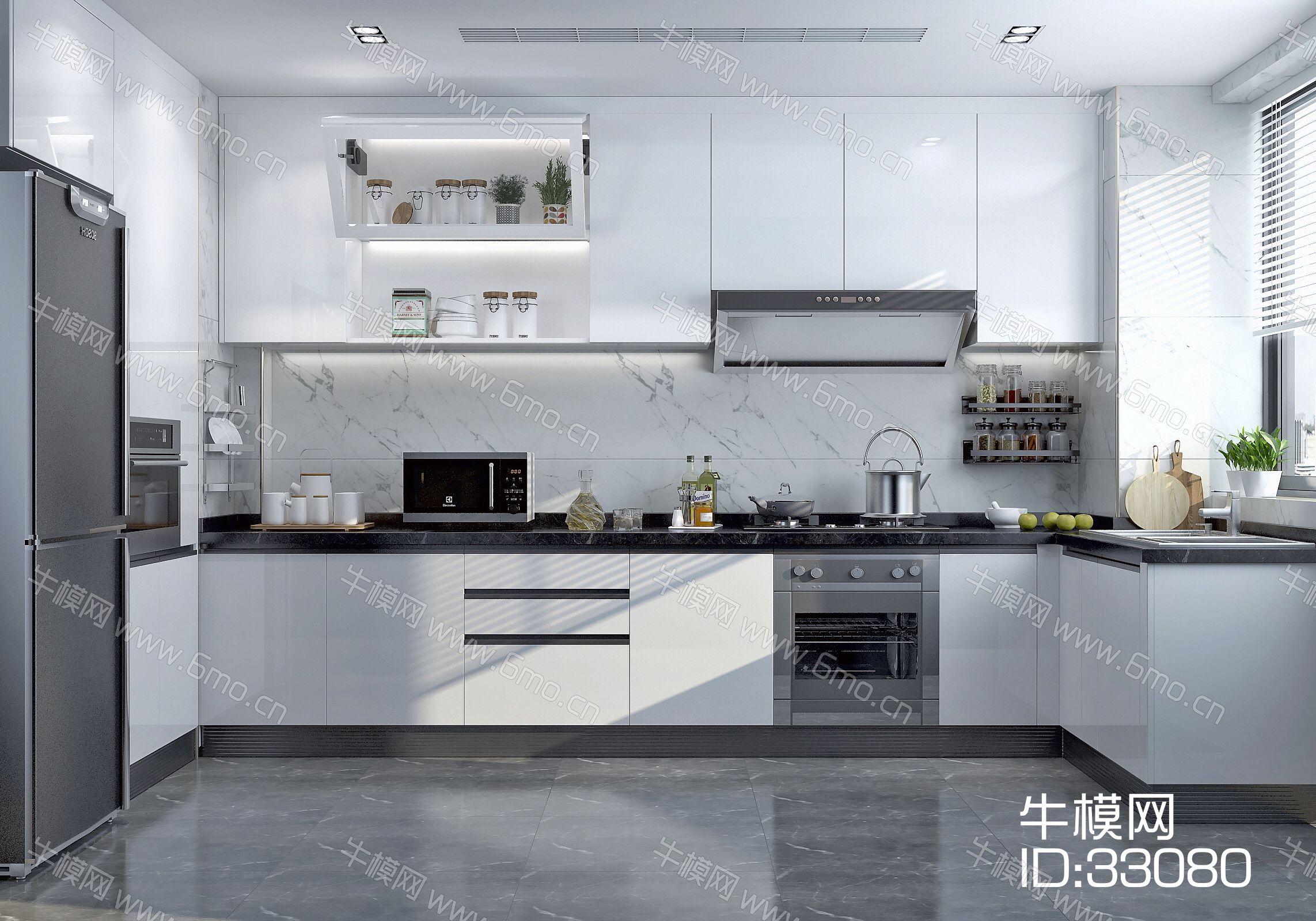 3d透明玻璃材质_现代厨房橱柜 厨房电器 厨房用品3D模型下载_id:33080_牛模网