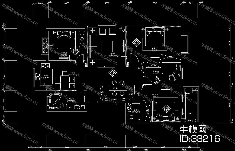 现代三居施工图