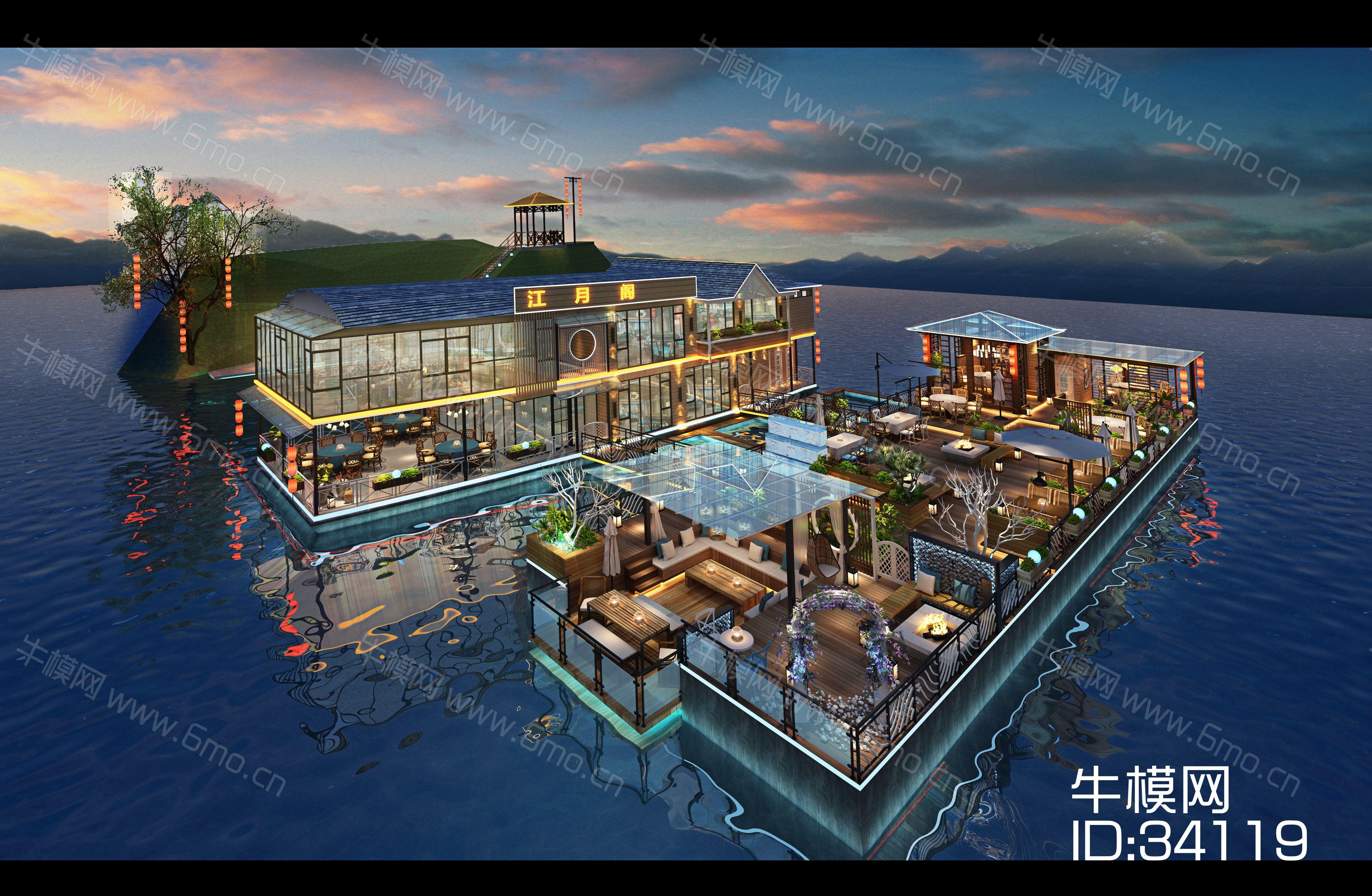 中式风格海上建筑外观