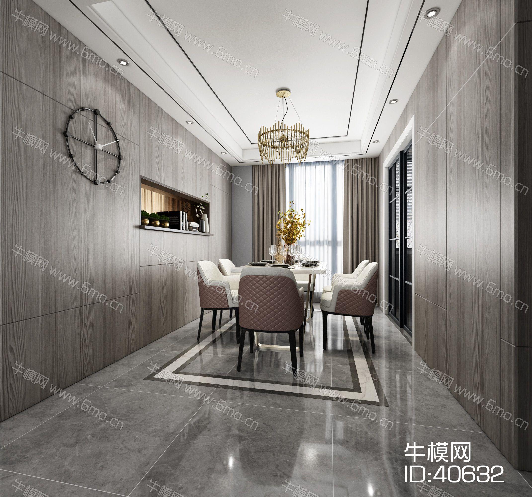 现代客厅餐厅沙发电视柜餐桌装饰画吊灯
