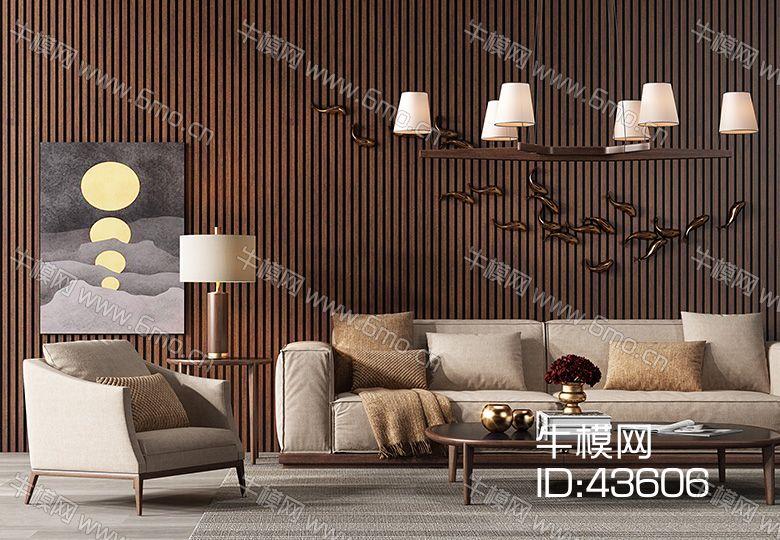 现代麻布沙发茶几组合