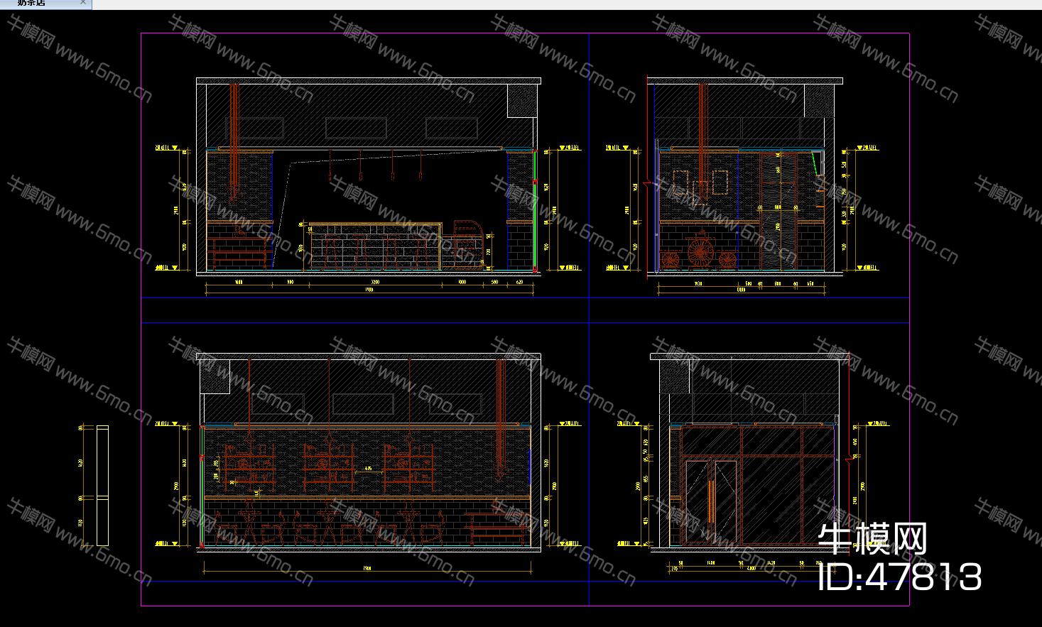 奶茶店CAD施工图