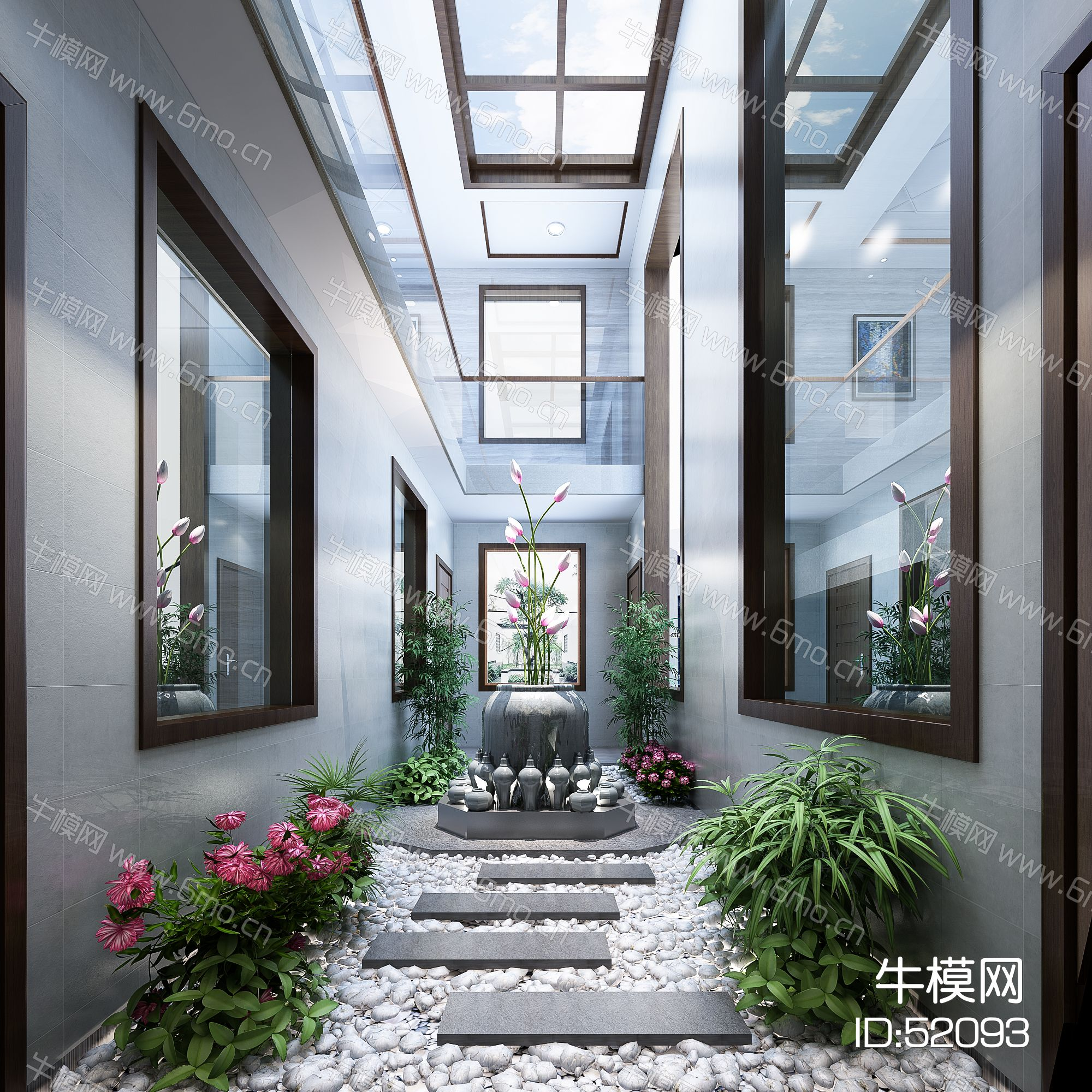 新中式天井景观  阳光房  绿植  石头  台阶